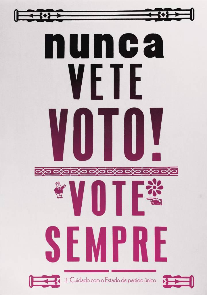 Cartaz da edição brasileira do livro 'Sobre a tirania' feito por Alceu Chierosin Nunes DIVULGAÇÃO