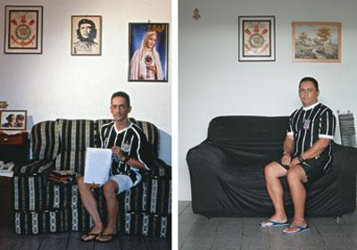 A TROCA DOS SÍMBOLOS Em 2003, na foto da esquerda, Hustene Pereira era sustentado por uma trindade: Corinthians, Che Guevara e Nossa Senhora de Fátima. Futebol, ideologia e religião. Com a mudança de classe, Che foi trocado por uma paisagem e Nossa Senhora de Fátima por um anjo. Apenas o Corinthians resiste