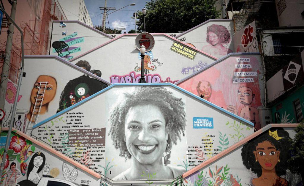 Mural em São Paulo em homenagem a Marielle Franco (Foto: F.Bizerra/EFE/Reprodução do El País)